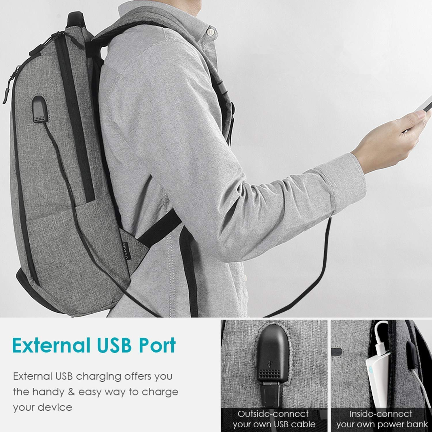 Laptop Backpack, REYLEO Backpack, Work Backpack for Man&Woman,Fits 15.6 Inch Laptop, with Shoe Compartment, External USB Charging Port, Water Resistant,Gray, Back to School Choice, RB06 by REYLEO (Image #4)