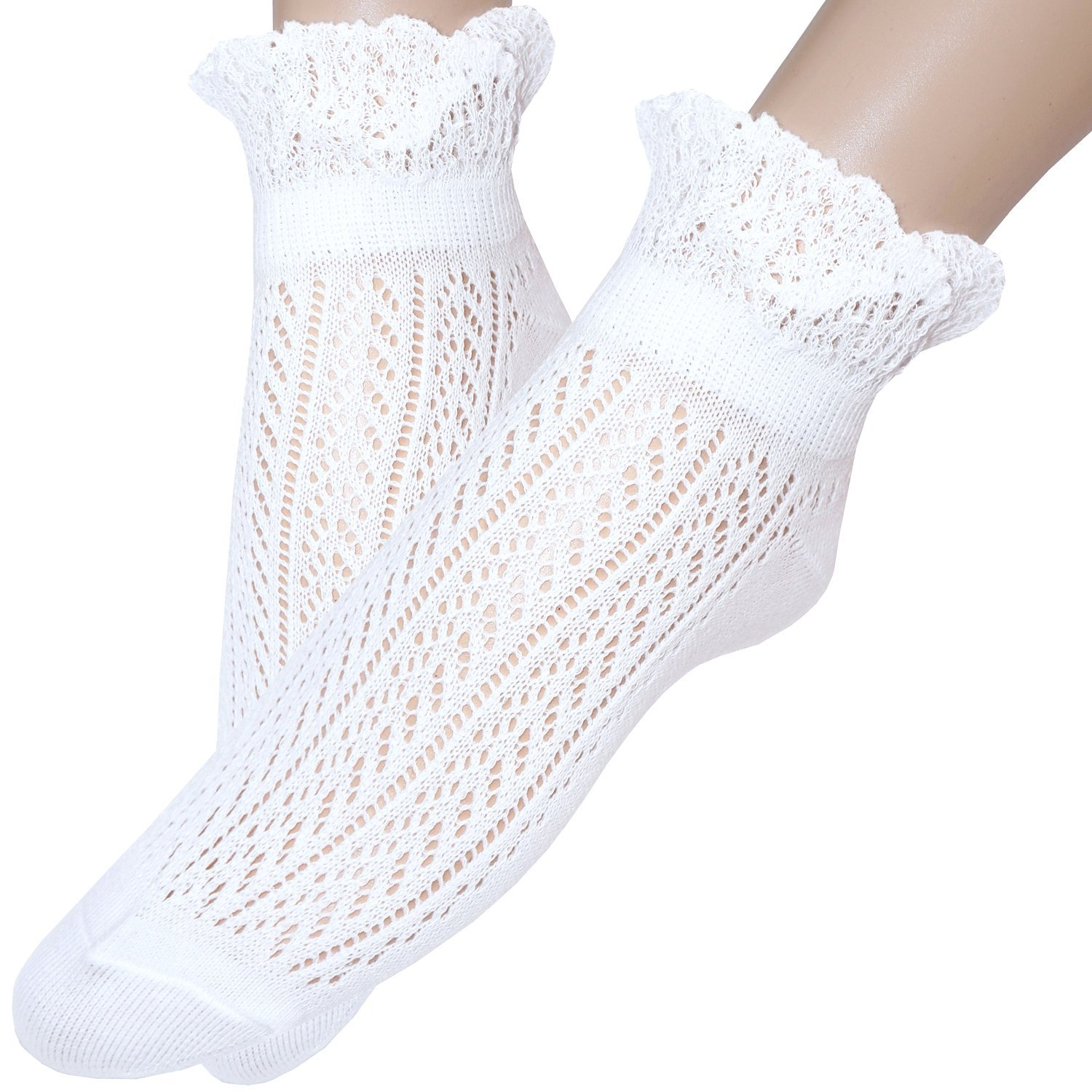 Ladies frilly top Pointelle ankle socks cotton