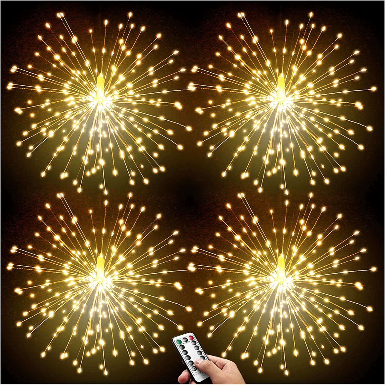 DenicMic 4 Pack Led Copper Wire Firework Lights: 8 Modes Dimmable Remote Control Waterproof Hanging Ceiling Starburst Fairy Star Sphere Lights for Patio Party Wedding Christmas Decorations