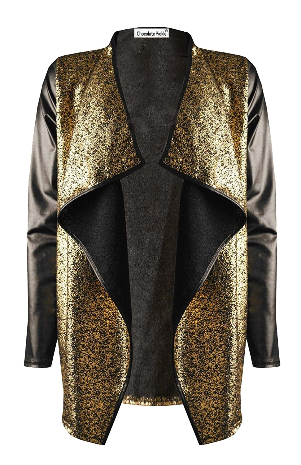 New Womens PU Wetlook Long Sleeve Waterfall Gold Sparkle Cardigan ...