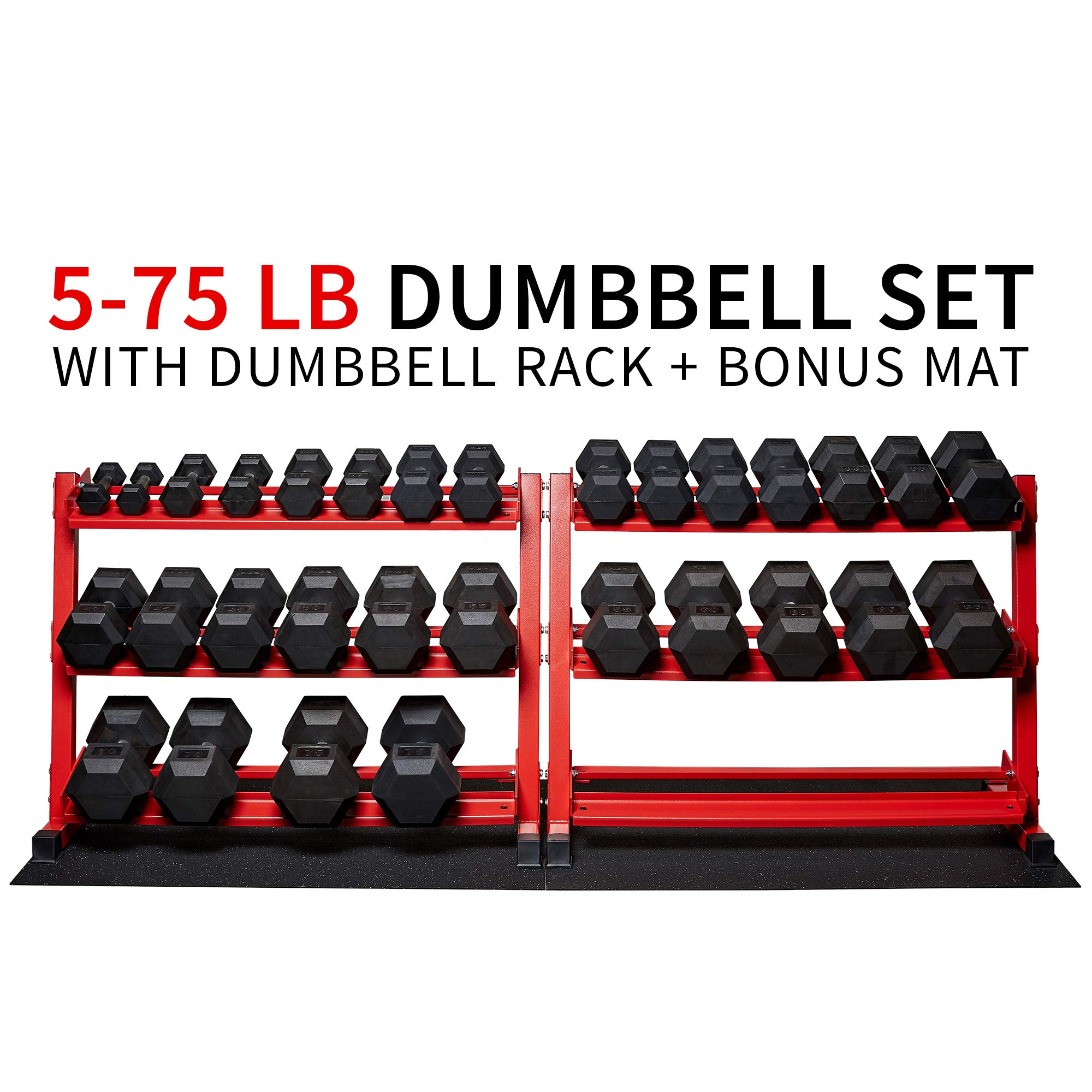 Rep Rubber Hex Dumbbell Set with Racks, 5-50 Set, 5-75 Set, 5-100 Set, 2.5-27.5 Set, 55-75, 80-100, or 105-125 Set. Available with and Without Racks. (OptionB: 5-75withRedStand)