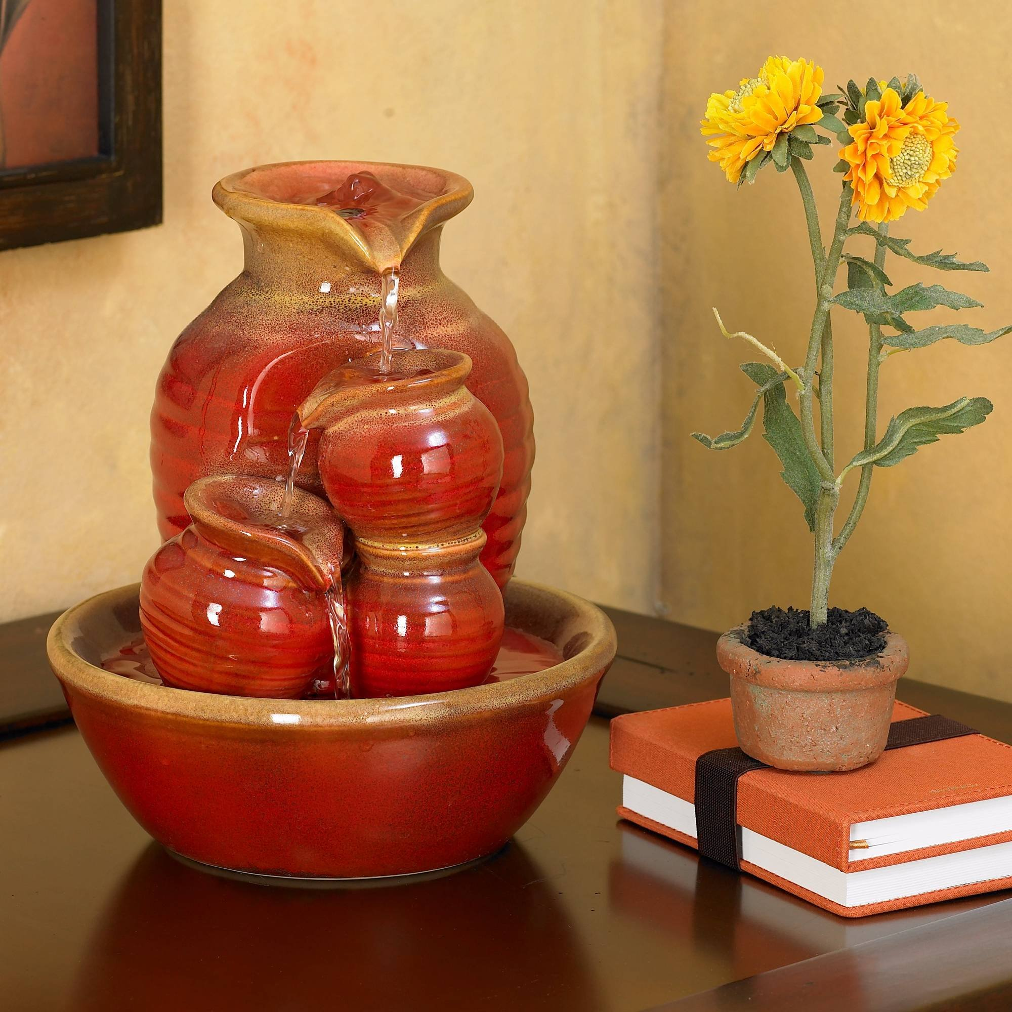 John Timberland Country Jar 9'' High Ceramic Red Table Fountain by John Timberland