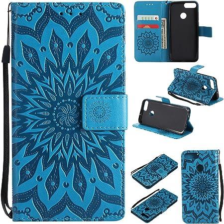 Hancda Hülle Für Huawei Honor 9 Lite Nicht Für Honor 9 Leder Hülle Flip Case Handytasche Für Huawei Honor 9 Lite Handy Hüllen Tasche Case Lederhülle Magnet Cover Für Huawei Honor 9 Lite Blume Blau Haustier