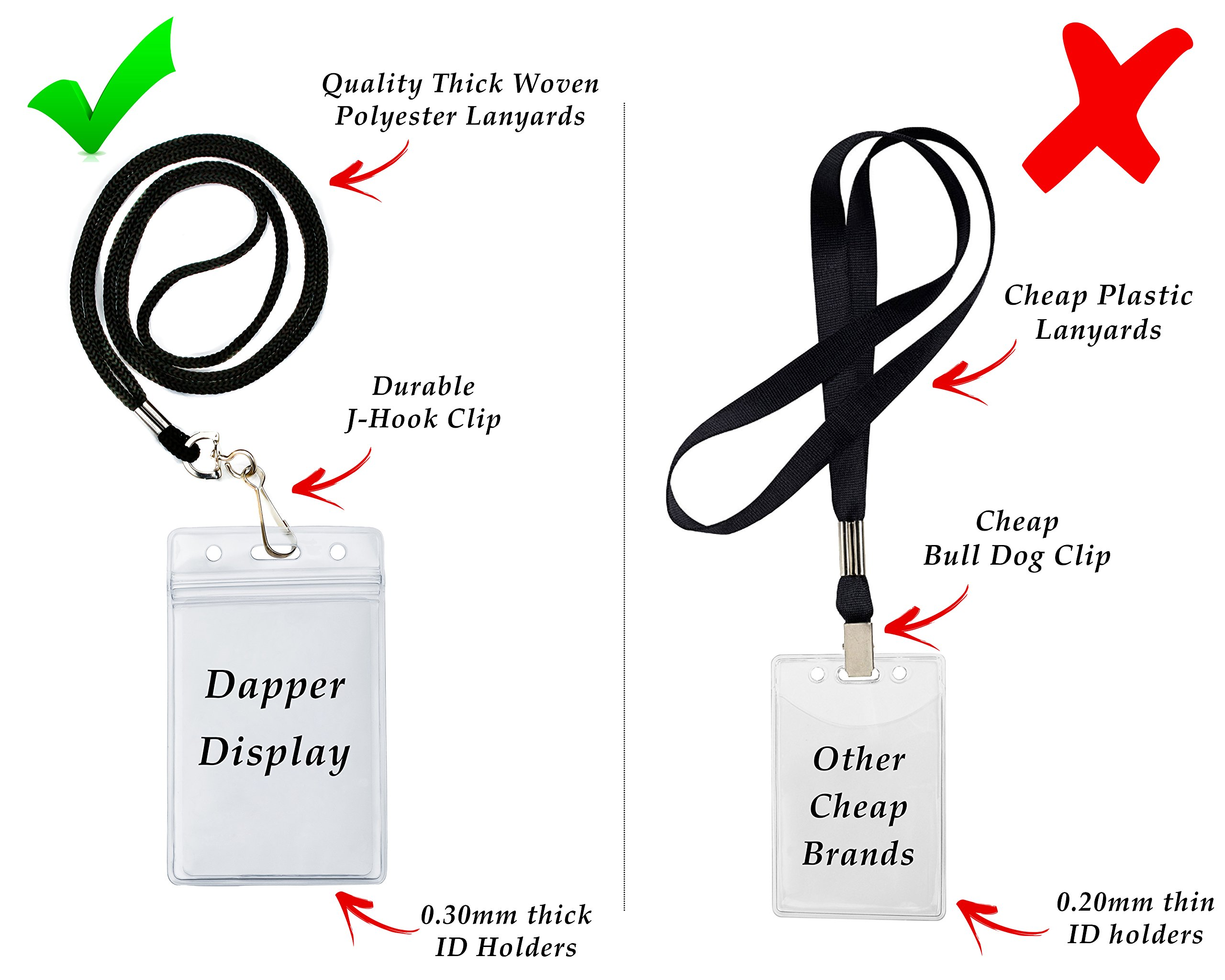 ID Badge Holders & Lanyards, 55 sets, Black Lanyard and VERTICAL Name Tags Hole Punched Zipper Waterproof Resealable Clear Plastic, BONUS Insert Labels Credit Card Holder For Employees Heavy Duty by Dapper Display (Image #2)