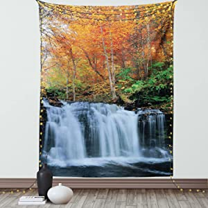 Ambesonne Waterfall Tapestry, Waterfalls in Autumn Season Nature Park with Colorful Foliage Trees, Wall Hanging for Bedroom Living Room Dorm Decor, 60
