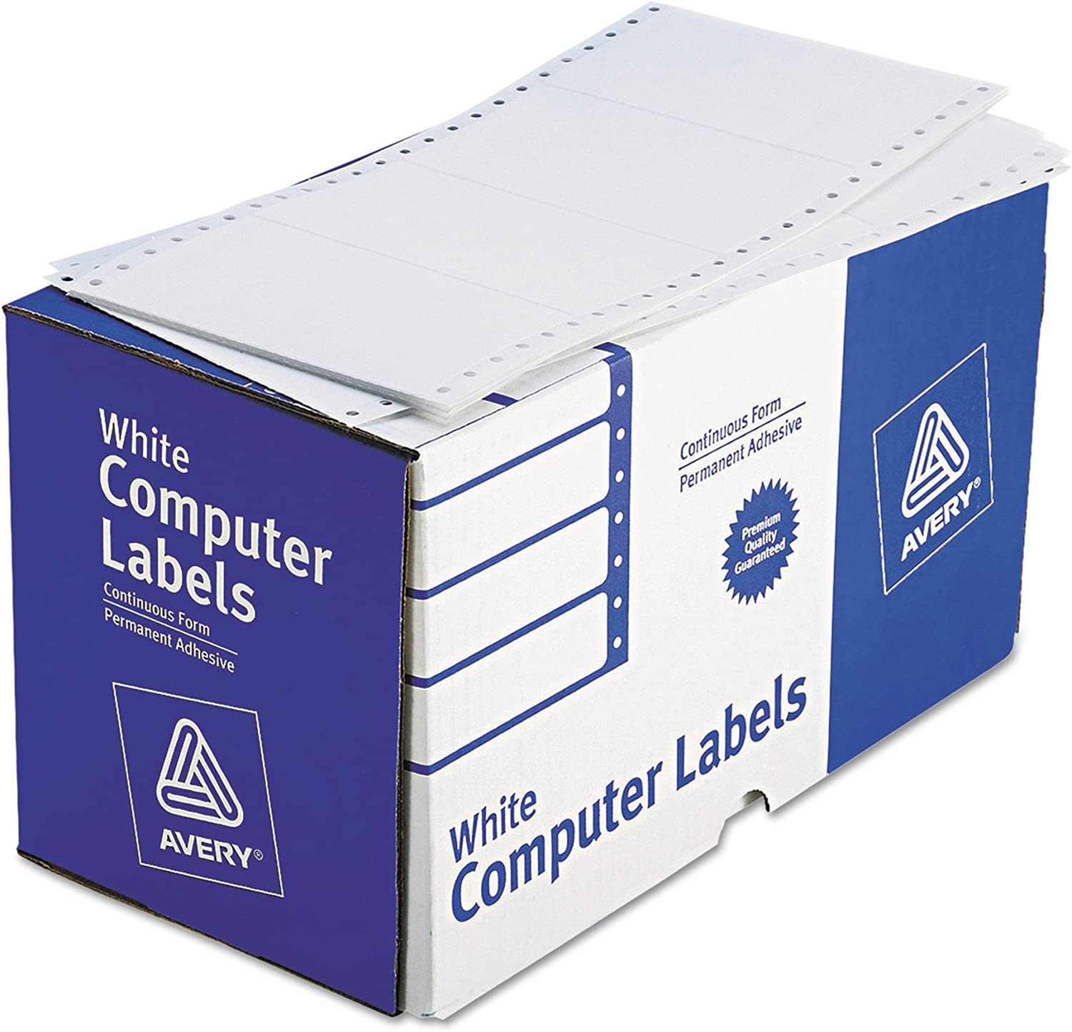 Avery 4076 Dot Matrix Printer Shipping Labels, 1 Across, 2 15/16 x 5, White (Box of 3000) : Continuous Form Labels : Office Products