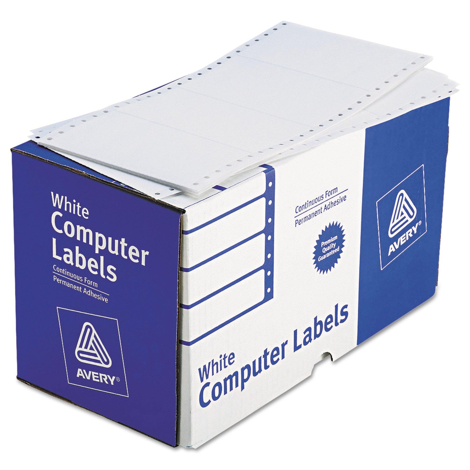 Avery 4076 Dot Matrix Printer Shipping Labels, 1 Across, 2 15/16 x 5, White (Box of 3000) by AVERY