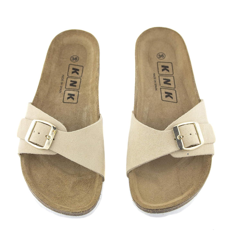 Sandalias de Verano para Mujer Piel Serraje Colores Negro Cuero Planta Bio o Beig Piso Plano de 1.5 cm y Fabricadas en Espa/ña con Hebilla Disponible del 36 al 41 Temporada 2019