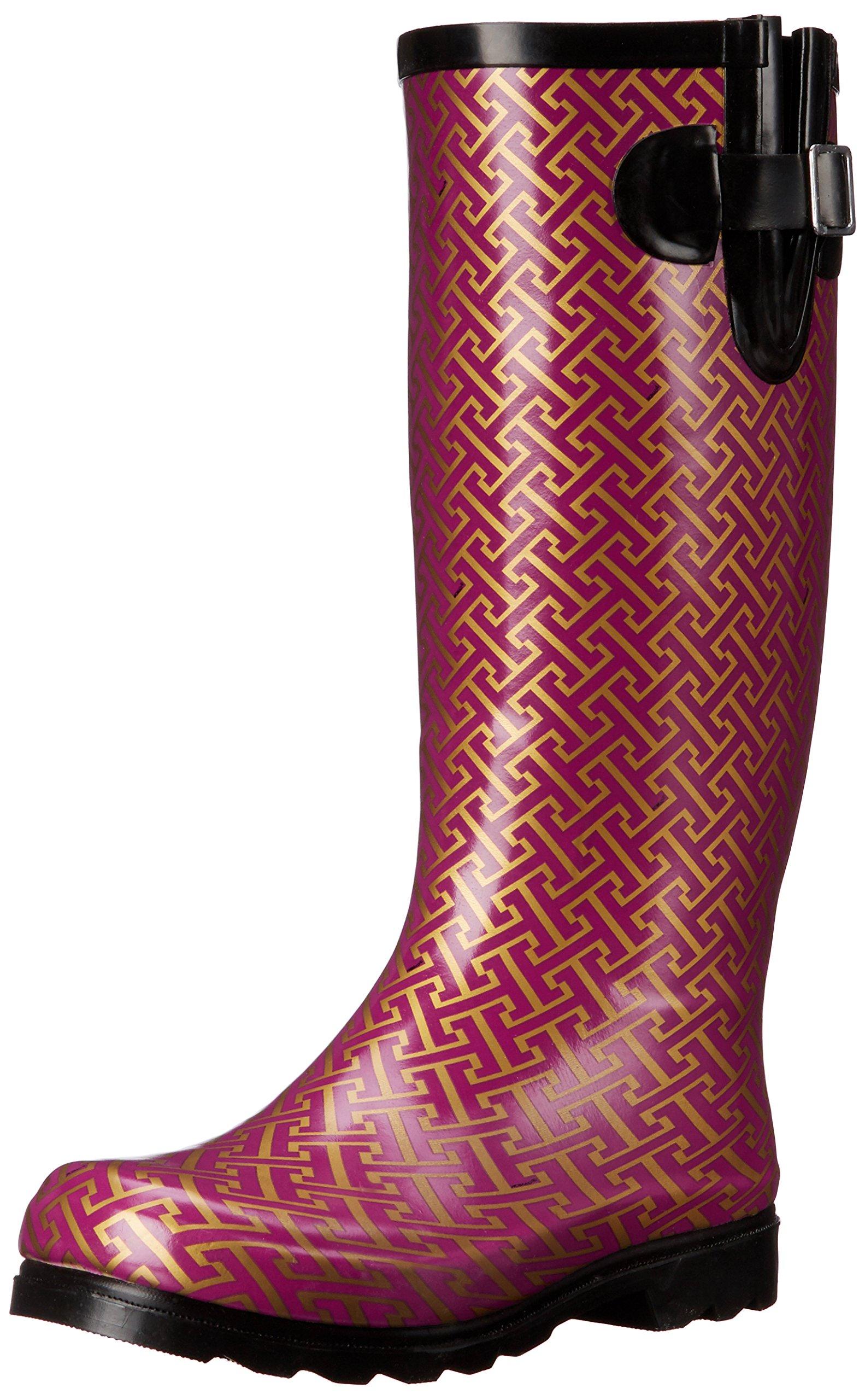 Nomad Women's Puddles Rain Boot, Berry/Gold Hatch, 8 M US