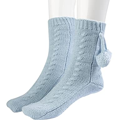Slenderella Ladies Wool Bed Socks With Pom Poms Anti Slip Dots One