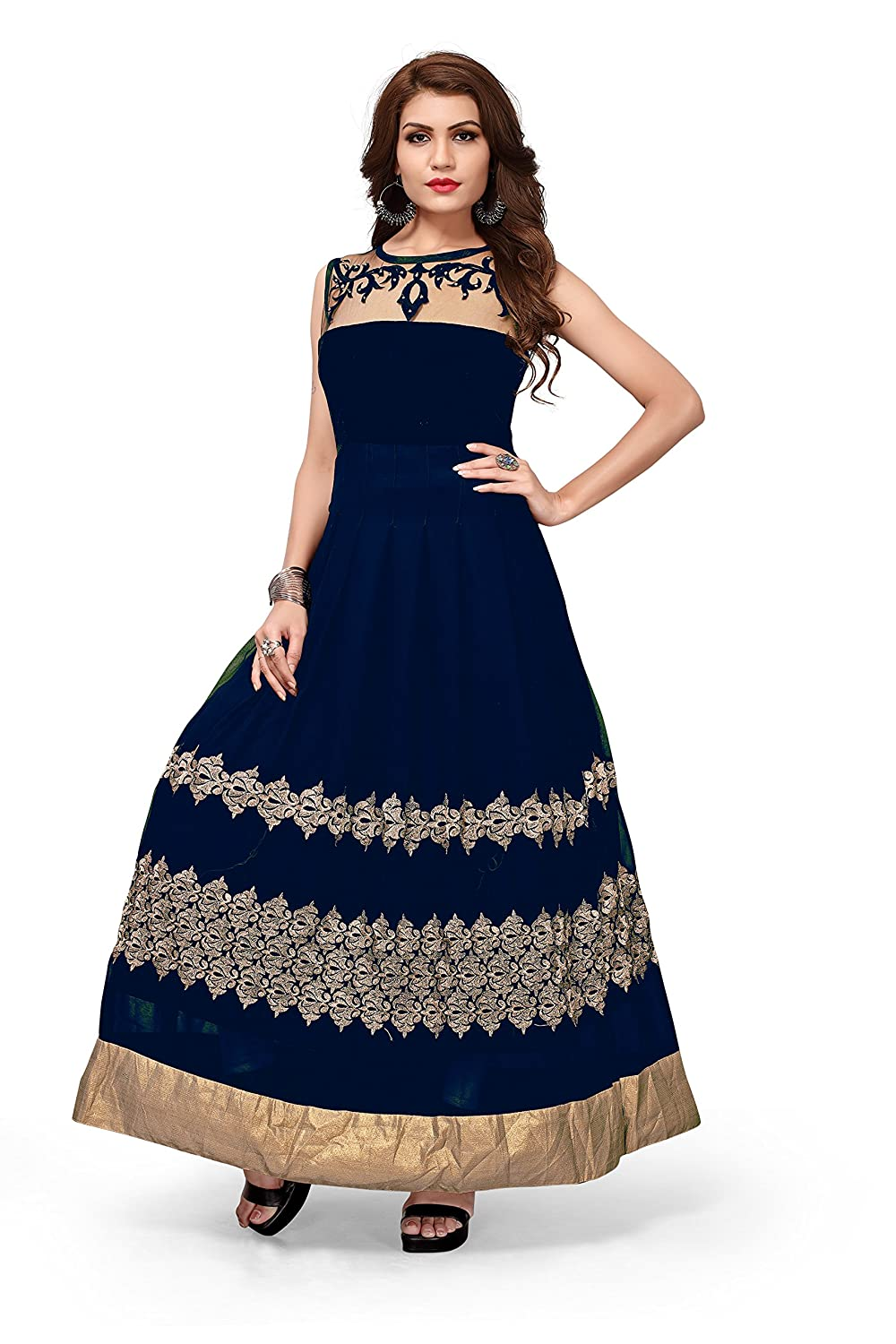 Royal Export Women's Georgette Black Anarkali Gown (velL_blUe_XXL_Blue_xx-large)