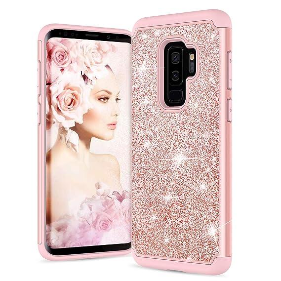 a9b96bda33c LeYi Samsung Galaxy S1 Plus - Funda para niñas Mujeres, Glitter Bling  Bonito diseño [
