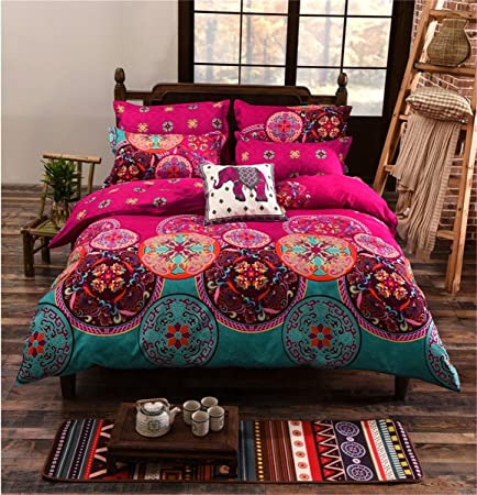 Wonderful Double Three Sets Of Bed Sheets 3D Three Piece Printed Cotton National Wind  Pillow Quilt