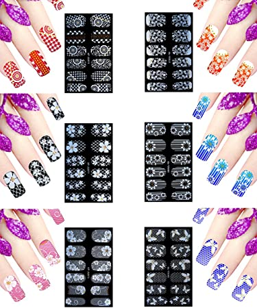 6 Sheets Nail Stickers Flowers Nail Polish Decals 3D Self-adhesive Fingernail  Stickers for Nail