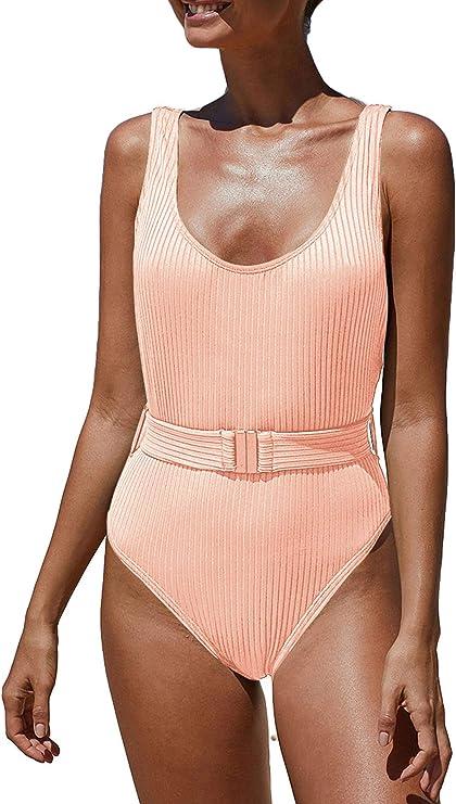 CinShein Women's Bikini High Cut Leopard Print One Piece Monokini Swimsuits Backless Thong Bathing Suits
