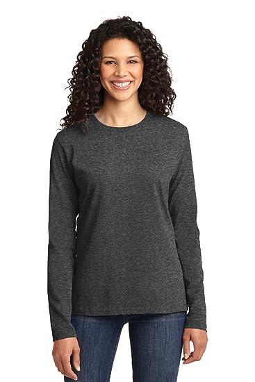 cbeba98f861 Port   Company Ladies Long Sleeve Core Cotton Tee. LPC54LS Dark Heather Grey