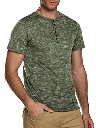 fa352991 Men's Casual Long Short Sleeve V Neck T Shirt Slim Fit Basic Henley Tops  for Mens