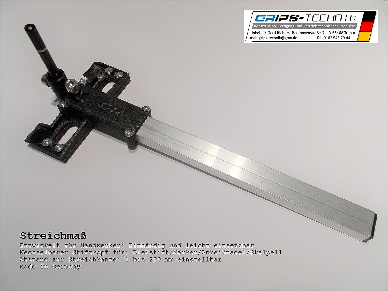 Streichmaß mit wechselbarem Stiftkopf bis 200 mm, Versatzanreißer (inkl. MwSt) GRIPS-Technik