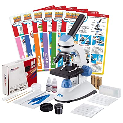 IQCrew by AmScope 40X-1000X Dual Illumination Microscope (Blue) with Slide Prep Kit and Experiment Cards: Camera & Photo