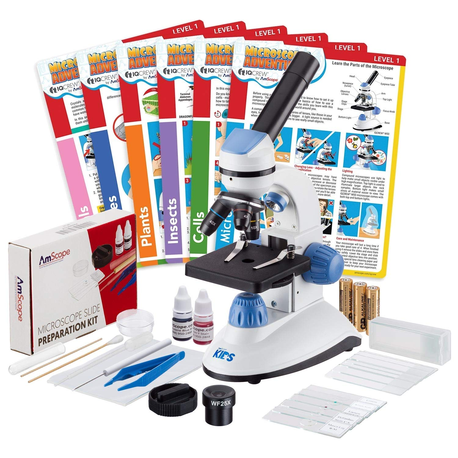 IQCrew by AmScope 40X-1000X Dual Illumination Microscope (Blue) with Slide Prep Kit and Experiment Cards by iQcrew