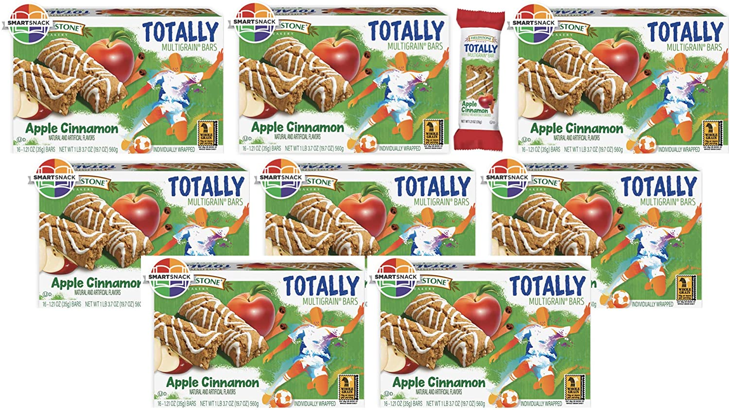 Fieldstone Bakery Whole Grain Totally Apple Cinnamon Bars, 8 Boxes, 128 Individually Wrapped Bars