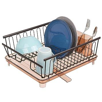 mDesign Juego de 2 escurridores de platos con bandeja de goteo – Rejilla escurreplatos para encimera