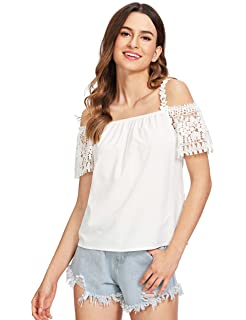 2d01d0a2033 Milumia Women's Crochet Lace Insert Spaghetti Strap Cold Shoulder Short  Sleeve Blouse Top