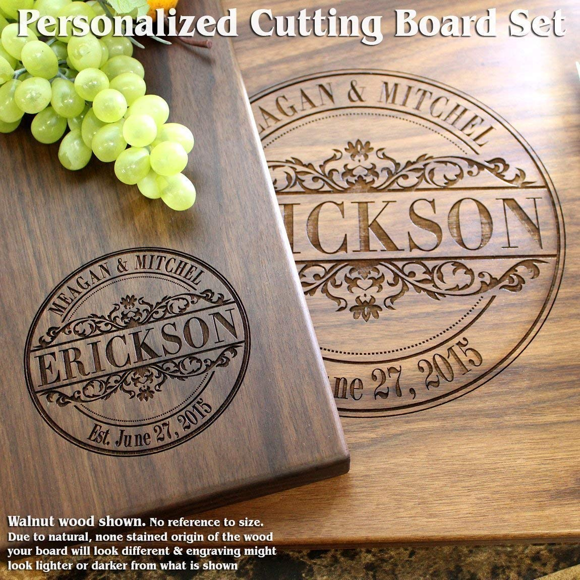 Round Vintage Personalized Engraved Cutting Board Set- Wedding Gift, Anniversary Gifts, Housewarming Gift,Birthday Gift, Corporate Gift, Award, Promotion #010
