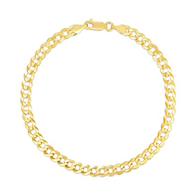 5ebd93d68c436 Amazon.com: Verona Jewelers 10K Gold Unisex 5mm Italian 8 Inch Cuban ...