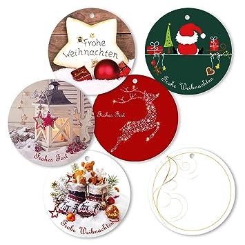 Geschenkanhänger Frohe Weihnachten.25er Pack Geschenkanhänger Frohe Weihnachten Rund Ca ø 95 Mm Verschiedene Motive Anhänger Weihnachtsanhänger Geschenkkarte Geschenkkärtchen