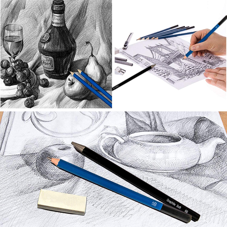 Art Supplies 41pcs Artist Kit with Graphite Pencils Charcoal Sticks Pastel Pencil Eraser Sharpener k Kwokker Sketching Pencils for Drawing Graphite Stick Charcoal Pencils Sketch Book for Child