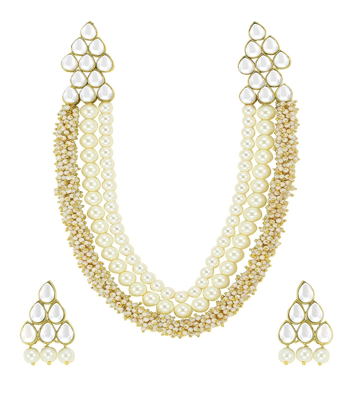 Buy Zaveri Pearls Beautiful Pearl & Kundan Necklace Set For Women ...