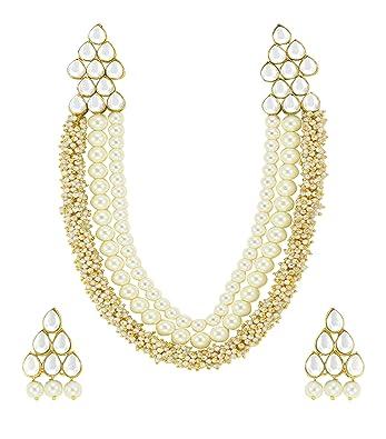 5fb3c97ffa532 Zaveri Pearls Beautiful Pearl & Kundan Necklace Set for Women (Golden)  (ZPFK4788)