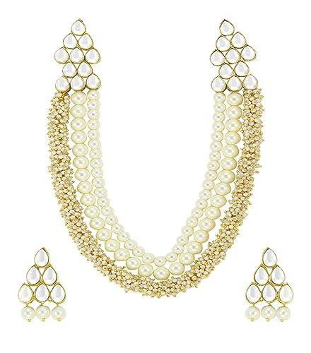 f44d39e46d Zaveri Pearls Beautiful Pearl & Kundan Necklace Set for Women (Golden)  (ZPFK4788)