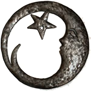 Crescent Moon with Star Wall Hanging Decorative Sculpture, Outdoor Home Decor, Handmade from Recycled Steel Barrels 15 x 15 Inches