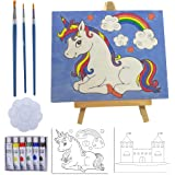 Kids Paint Set and Paint Easel – 14-Piece Acrylic Painting Kit, 6 Non Toxic Washable Paints, 1 Wood Easel, 2 Pre…