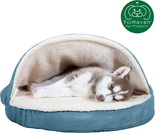 Furhaven Pet Dog Bed Therapeutic Round Cuddle Nest Snuggery Burrow Blanket Pet Bed w Removable Cover for Dogs Cats – Available in Multiple Colors Styles