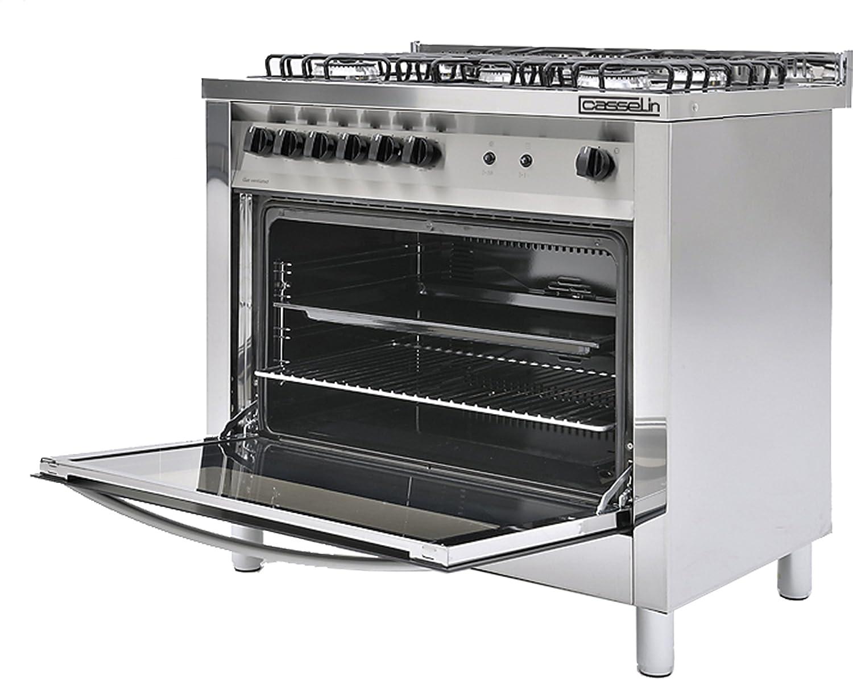 Cucina professionale a gas 5 fuochi Casselin CFOFE con forno ...