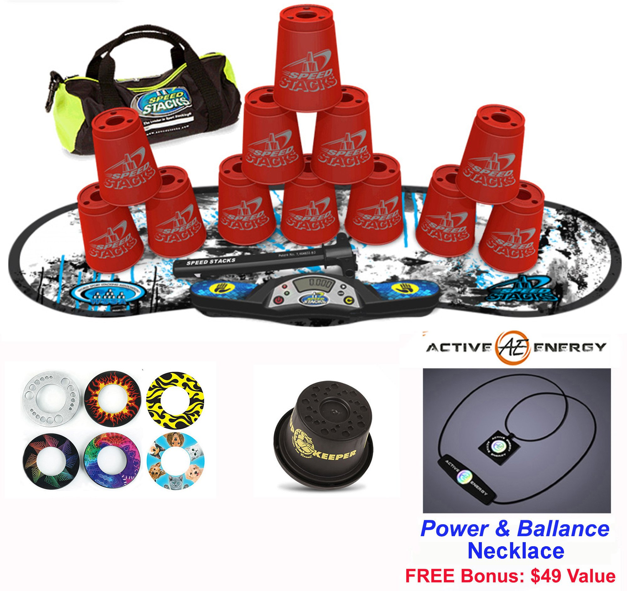 Speed Stacks Combo Set ''The Works'': 12 RED 4'' Cups, REBEL MUDD Gen 3 Mat, G4 Pro Timer, Cup Keeper, Stem, Gear Bag, 6 Snap Tops + Active Energy Necklace