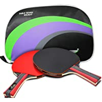 GIRINIBLU Raqueta de Tenis de Mesa, Paleta de Ping-Pong, Palo de Tenis de Mesa, Goma ITTF, Mango Largo, Agarre de Mano, Incluye Funda de murciélago