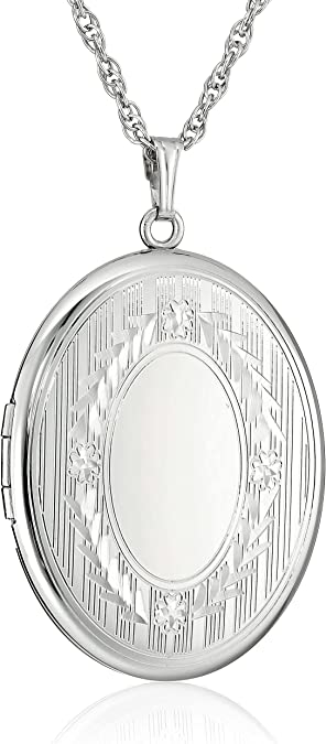 Details about  /Silver Family Oval Locket Four Picture Sterling Silver 925 All Chain Lengths