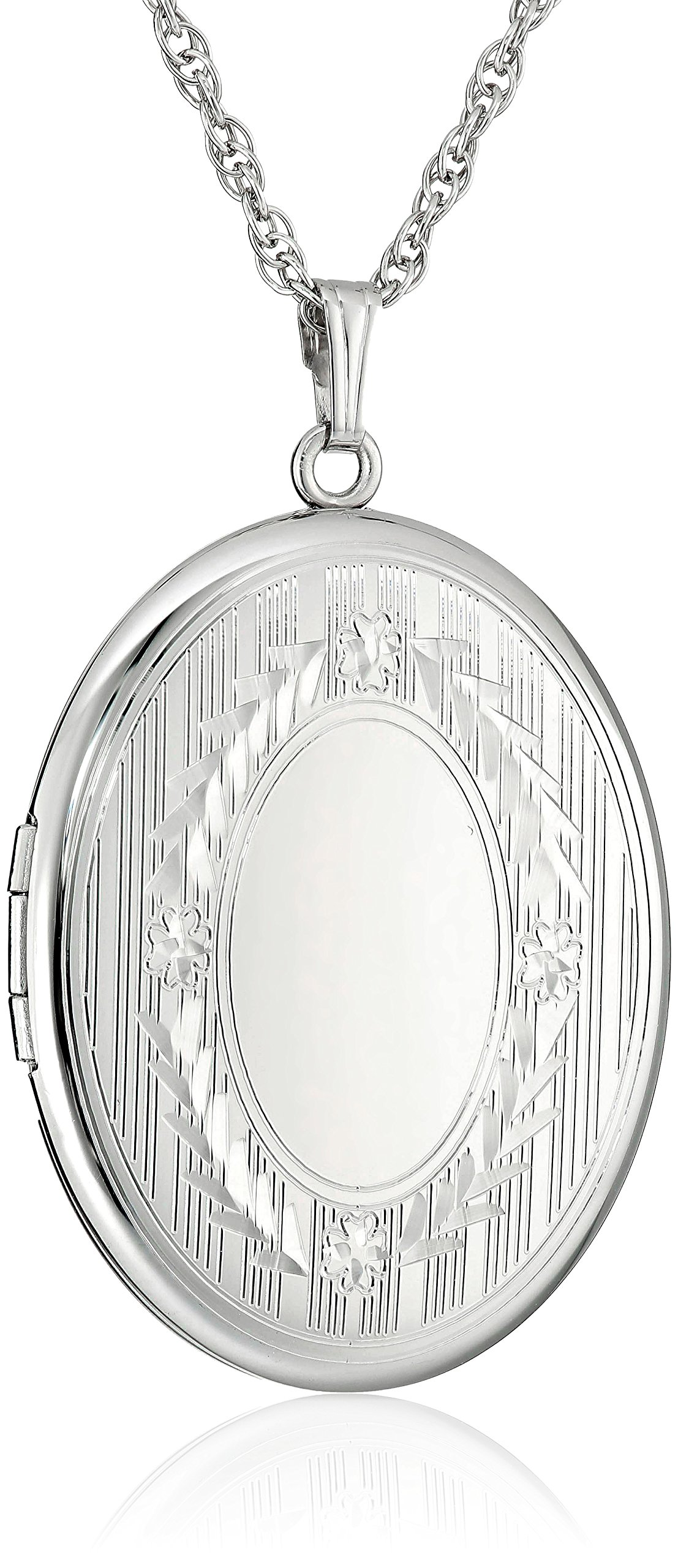 Sterling Silver Extra-Large Engraved Oval Locket Necklace, 22'' by Amazon Collection