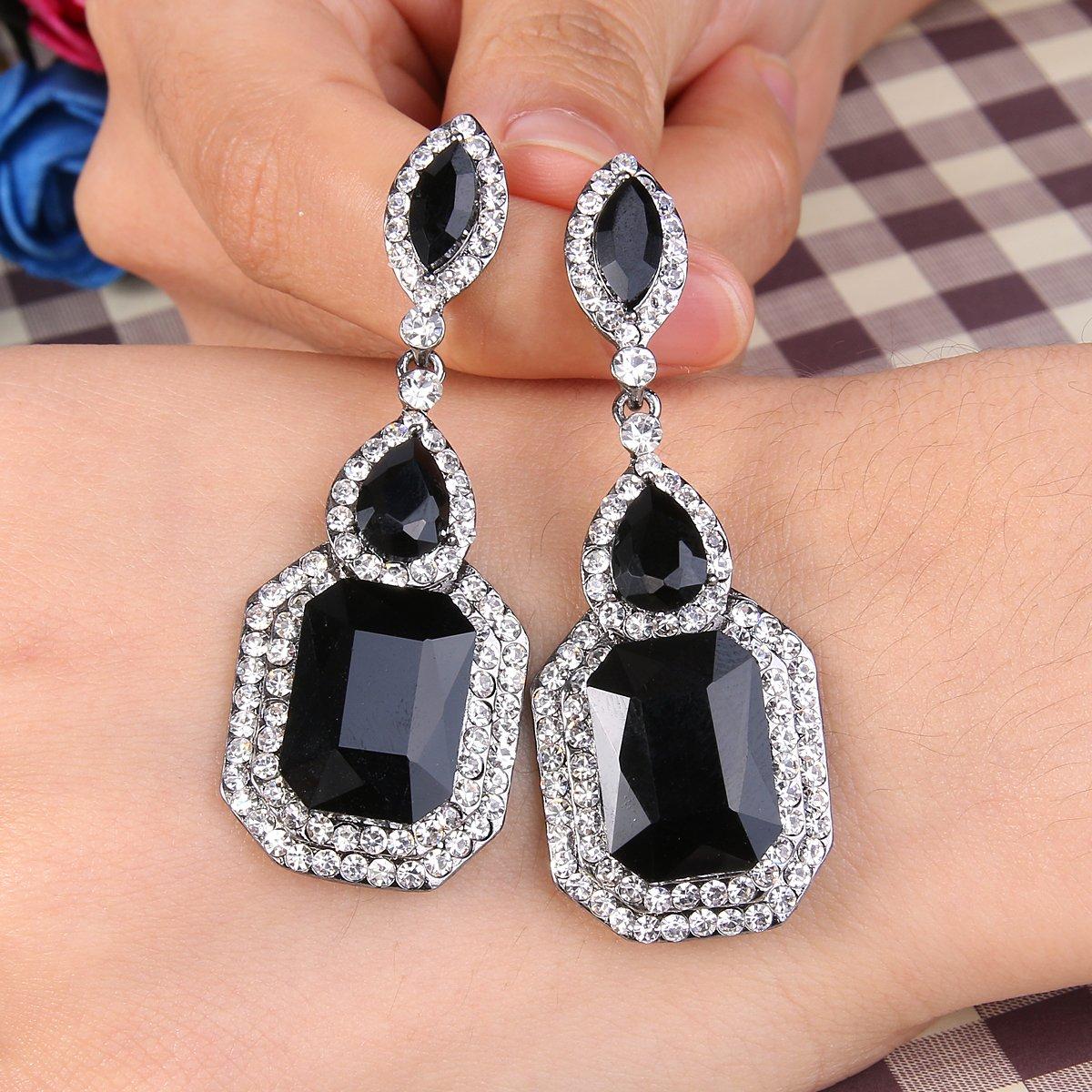 8bc7b9b81 Amazon.com: BriLove Wedding Bridal Dangle Earrings for Women Emerald Cut  Crystal Infinity Figure 8 Chandelier Earrings Black/Clear Black-Silver-Tone:  ...