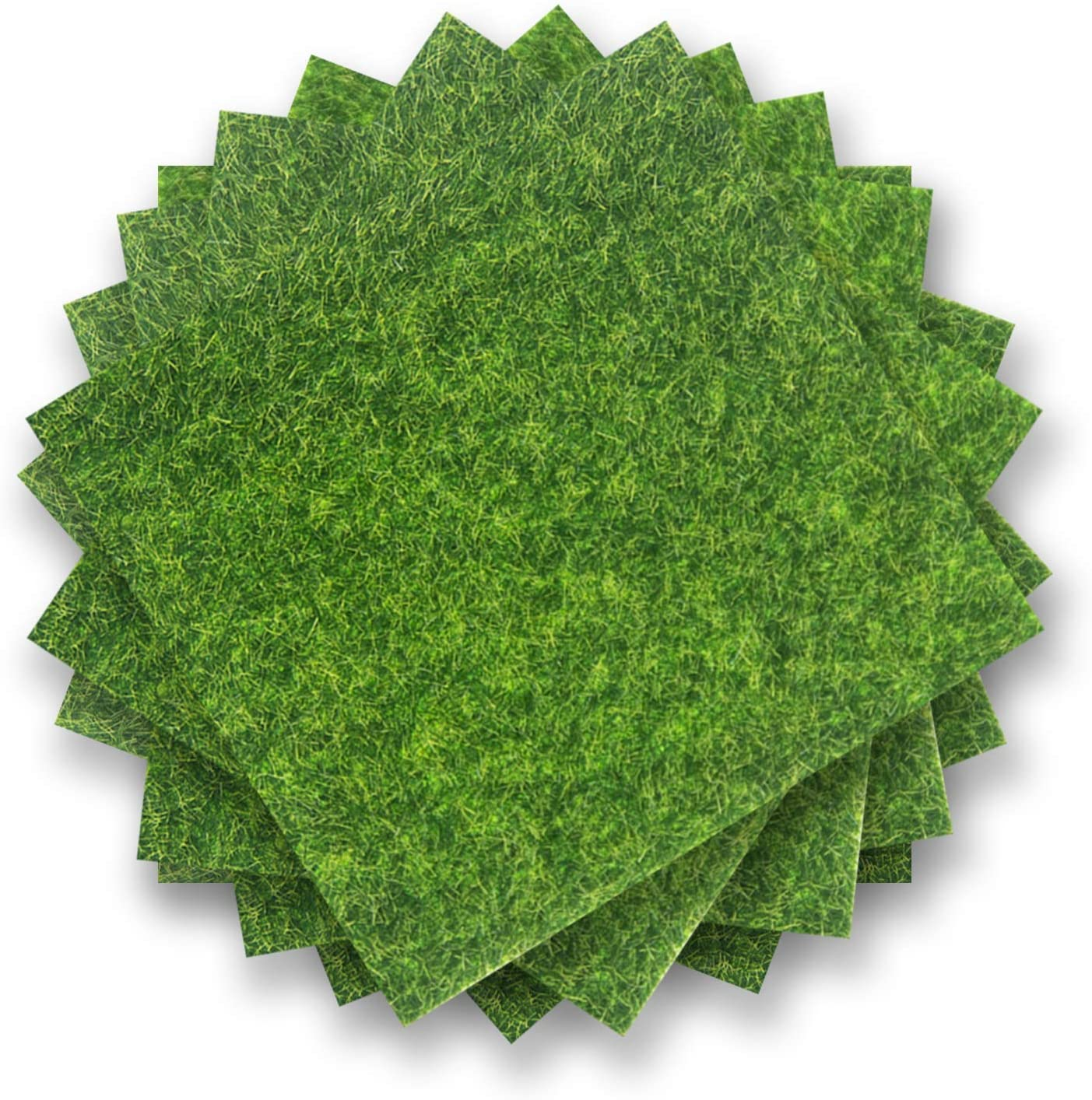 ODDIER 8pcs Artificial Garden Grass, Life-Like Fairy Artificial Grass,Fake Lawn for Miniature Decoration Ornament Garden Dollhouse DIY Grass 6 x 6 Inches