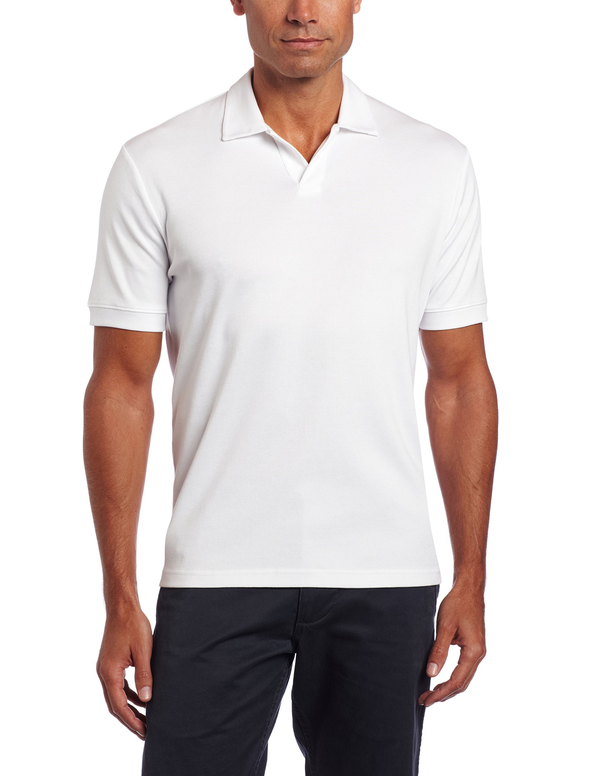 Perry Ellis Men's Short Sleeve Cotton Blend Open Polo, Bright White, XX-Large by Perry Ellis (Image #1)