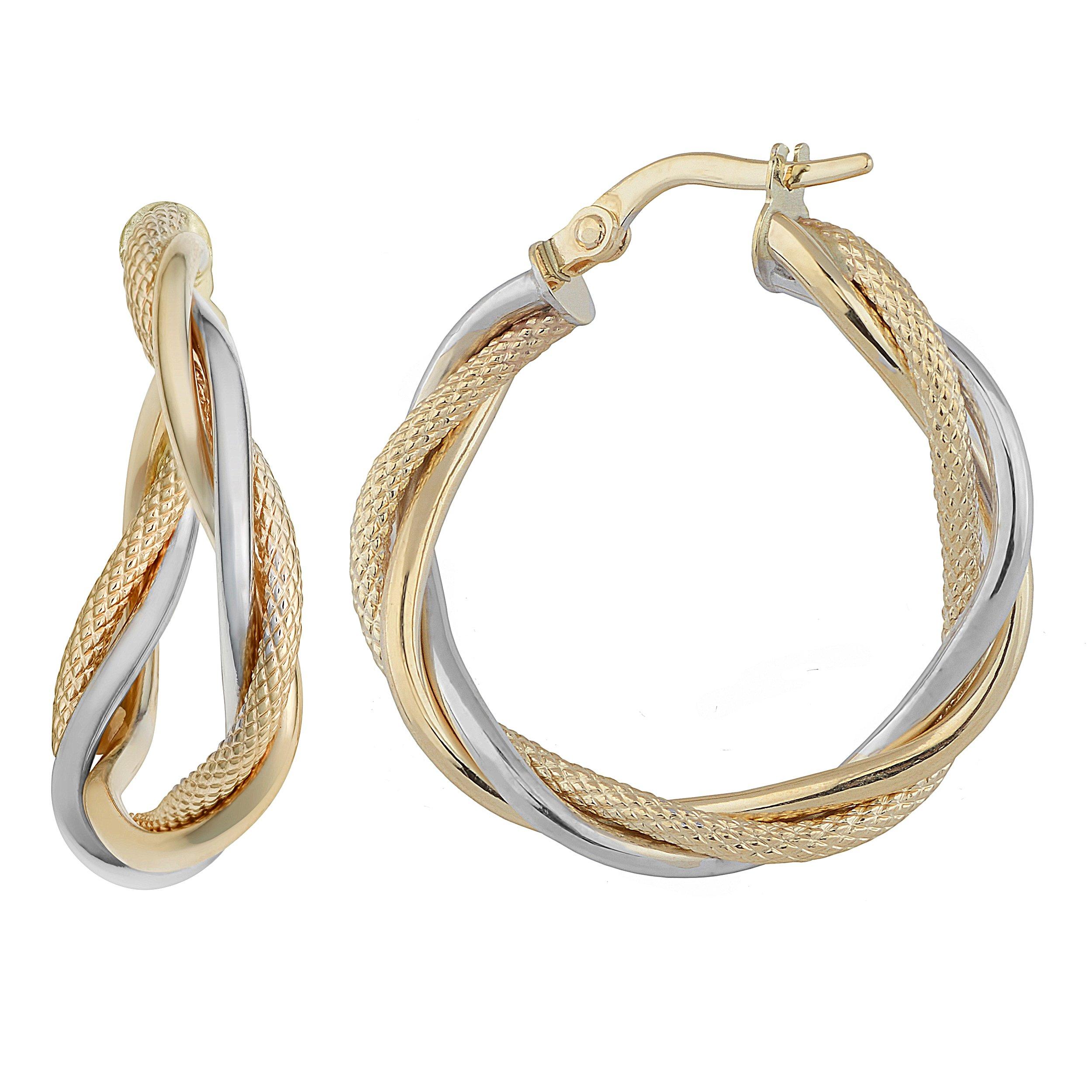 10k Two-Tone Gold Interwoven Twist Hoop Earrings