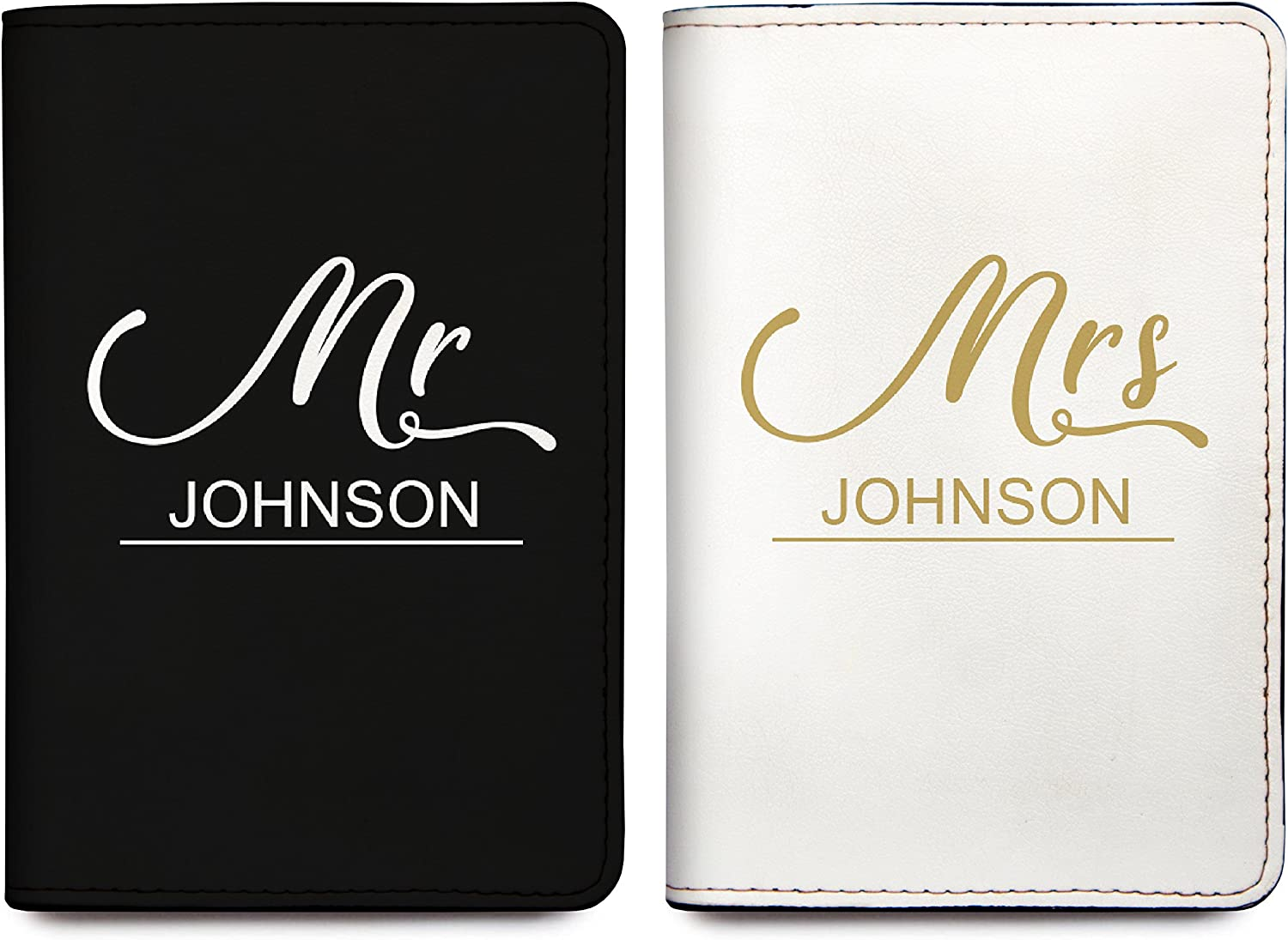 Set of 2 Mr And Mrs Personalized RFID Passport Holder Cover Travel Wallet