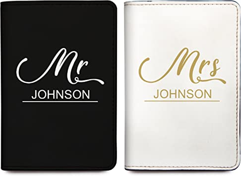 Mirror Mirror Passport Wallets Travel Holder Set: Mr White /& Pink Money /& Credit Card /& Mrs Slim Waterproof Passport Case Covers /& Organizer Slots for ID