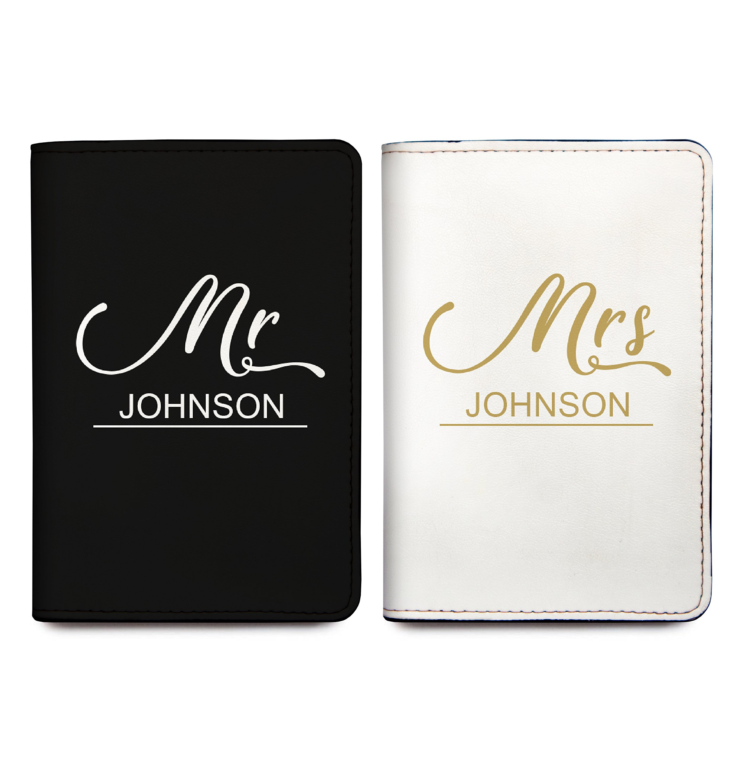Mr And Mrs - Couple Passport Holder Personalized Passport Cover Set of 2