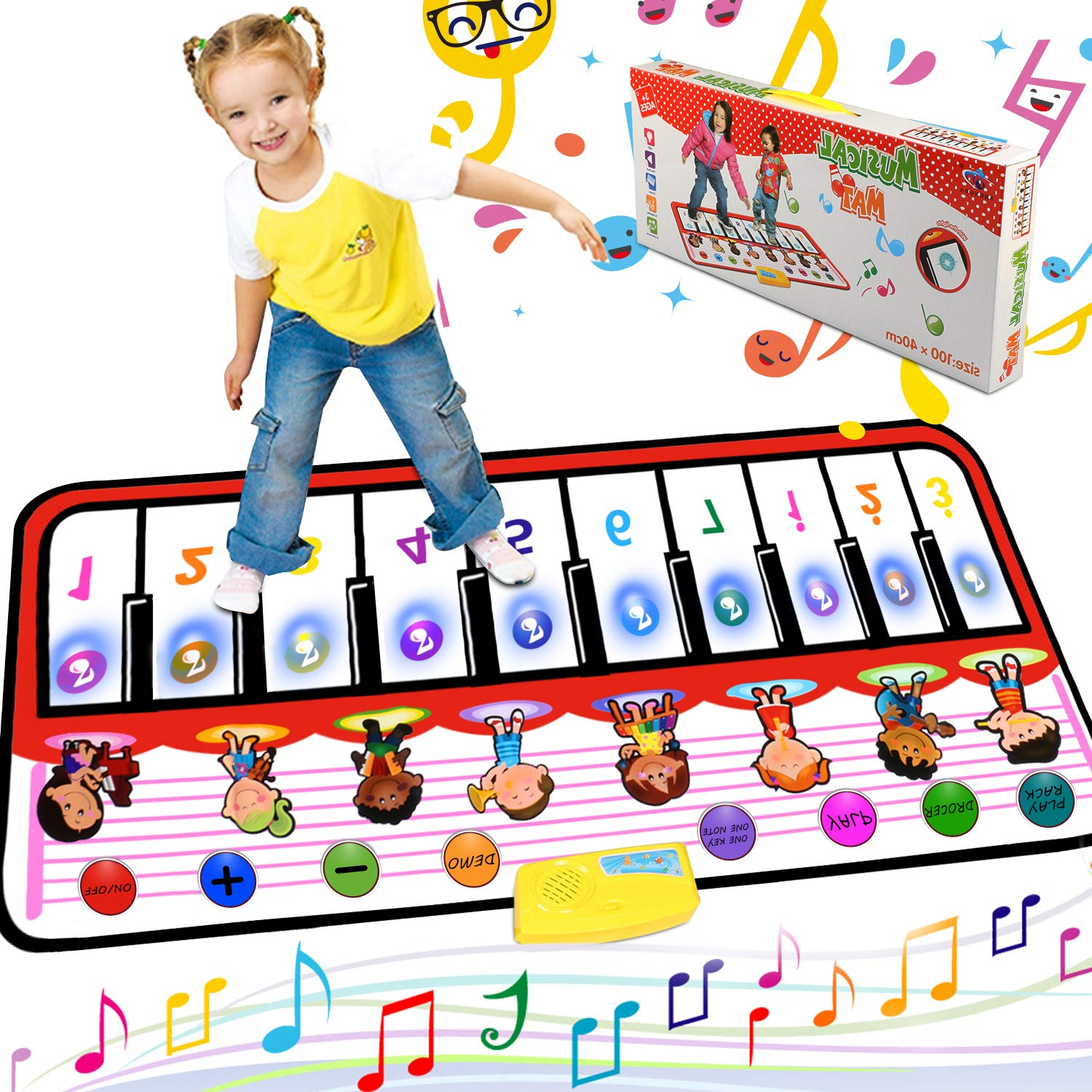Musical Piano Mat Piano Keyboard Play mat Portable Electronic Educational Musical Blanket With 10 Flashing LED lights Speaker & Recording Function Gifts For Kids Toddler Girls Boys Christmas by Tencoz